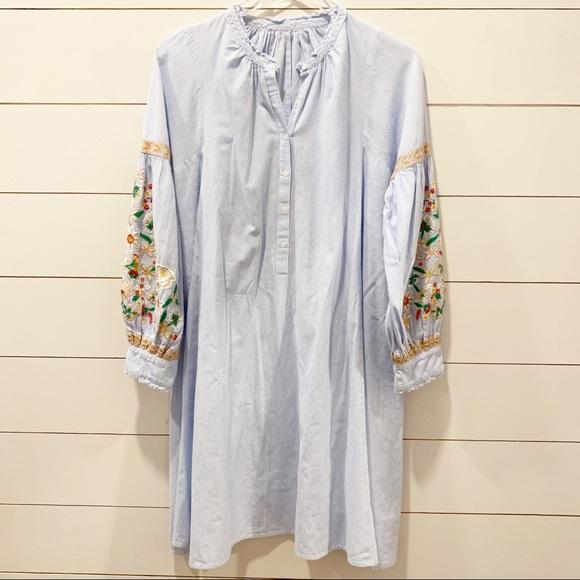 Antik Batik Dresses & Skirts - ANTIK BATIK Frida Stripe Embroidered Tunic Dress